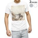 ショッピングイラスト tシャツ メンズ 半袖 ホワイト グレー デザイン XS S M L XL 2XL Tシャツ ティーシャツ T shirt 004508 時計 レトロ イラスト