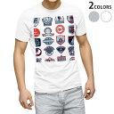 tシャツ メンズ 半袖 白地 デザイン XS S M L XL 2XL Tシャツ ティーシャツ T shirt 004514 マリン ワッペン イラスト