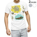 ショッピングイラスト tシャツ メンズ 半袖 ホワイト グレー デザイン XS S M L XL 2XL Tシャツ ティーシャツ T shirt 004638 動物 キャラクター イラスト
