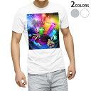ショッピングイラスト tシャツ メンズ 半袖 ホワイト グレー デザイン XS S M L XL 2XL Tシャツ ティーシャツ T shirt 004675 音楽 カラフル イラスト