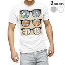 tシャツ メンズ 半袖 ホワイト グレー デザイン XS S M L XL 2XL Tシャツ ティーシャツ T shirt 004877 眼鏡 サングラス イラスト