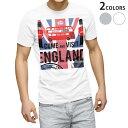ショッピングイラスト tシャツ メンズ 半袖 ホワイト グレー デザイン XS S M L XL 2XL Tシャツ ティーシャツ T shirt 004895 国旗 イラスト イギリス