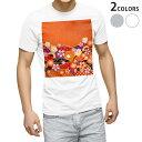 ショッピング和風 tシャツ メンズ 半袖 ホワイト グレー デザイン XS S M L XL 2XL Tシャツ ティーシャツ T shirt 005457 和風 和柄 花
