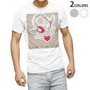 ショッピングヘッドホン tシャツ メンズ 半袖 ホワイト グレー デザイン XS S M L XL 2XL Tシャツ ティーシャツ T shirt 005697 イラスト ハート ヘッドフォン