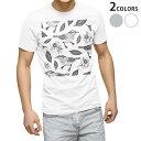 ショッピングイラスト tシャツ メンズ 半袖 ホワイト グレー デザイン XS S M L XL 2XL Tシャツ ティーシャツ T shirt 006046 鳥 イラスト 模様