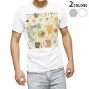 ショッピングイラスト tシャツ メンズ 半袖 ホワイト グレー デザイン XS S M L XL 2XL Tシャツ ティーシャツ T shirt 006245 ねこ 猫 イラスト