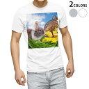 ショッピング写真 tシャツ メンズ 半袖 ホワイト グレー デザイン XS S M L XL 2XL Tシャツ ティーシャツ T shirt 006581 写真 うさぎ 動物