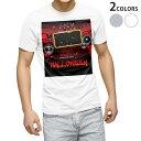 tシャツ メンズ 半袖 ホワイト グレー デザイン XS S M L XL 2XL Tシャツ ティーシャツ T shirt 007490 ハロウィン スピーカー 赤 レッド