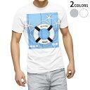ショッピング浮き輪 tシャツ メンズ 半袖 ホワイト グレー デザイン XS S M L XL 2XL Tシャツ ティーシャツ T shirt 007502 水色 ヒトデ 浮き輪