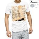 ショッピング写真 tシャツ メンズ 半袖 ホワイト グレー デザイン XS S M L XL 2XL Tシャツ ティーシャツ T shirt 007988 本 音符 楽譜 写真