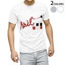ショッピングネイル tシャツ メンズ 半袖 ホワイト グレー デザイン XS S M L XL 2XL Tシャツ ティーシャツ T shirt 008283 イラスト 赤 レッド ネイル マニキュア
