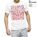 ショッピングメンズ tシャツ メンズ 半袖 ホワイト グレー デザイン XS S M L XL 2XL Tシャツ ティーシャツ T shirt 008477 カラフル ハート フラワー 花 ピンク