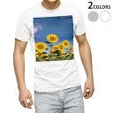 ショッピング写真 tシャツ メンズ 半袖 ホワイト グレー デザイン XS S M L XL 2XL Tシャツ ティーシャツ T shirt 009265 フラワー ひまわり 写真