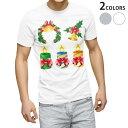 ショッピングクリスマスリース tシャツ メンズ 半袖 ホワイト グレー デザイン XS S M L XL 2XL Tシャツ ティーシャツ T shirt 009936 クリスマス リース リボン