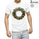 ショッピングクリスマスリース tシャツ メンズ 半袖 ホワイト グレー デザイン XS S M L XL 2XL Tシャツ ティーシャツ T shirt 009963 クリスマス リース