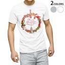 ショッピングクリスマスリース tシャツ メンズ 半袖 ホワイト グレー デザイン XS S M L XL 2XL Tシャツ ティーシャツ T shirt 009975 クリスマス リース 雪だるま