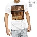 ショッピング本棚 tシャツ メンズ 半袖 ホワイト グレー デザイン XS S M L XL 2XL Tシャツ ティーシャツ T shirt 010025 本棚 レトロ 写真