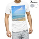 tシャツ メンズ 半袖 白地 デザイン XS S M L XL 2XL Tシャツ ティーシャツ T shirt 010198 海 虹 写真