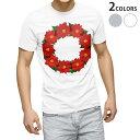 ショッピングクリスマスリース tシャツ メンズ 半袖 ホワイト グレー デザイン XS S M L XL 2XL Tシャツ ティーシャツ T shirt 015604 クリスマス リース ポインセチア