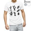tシャツ メンズ 半袖 ホワイト グレー デザイン XS S M L XL 2XL Tシャツ ティーシャツ T shirt 015722 木 植物 モノクロ サボテン