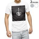ショッピングギター tシャツ メンズ 半袖 ホワイト グレー デザイン XS S M L XL 2XL Tシャツ ティーシャツ T shirt 016048 ギター 音楽 ロック