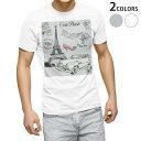 ショッピング車 tシャツ メンズ 半袖 ホワイト グレー デザイン XS S M L XL 2XL Tシャツ ティーシャツ T shirt 016060 エッフェル塔 外車 フランス