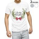ショッピングクリスマスリース tシャツ メンズ 半袖 ホワイト グレー デザイン XS S M L XL 2XL Tシャツ ティーシャツ T shirt 016385 クリスマス リース
