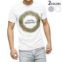 ショッピングクリスマスリース tシャツ メンズ 半袖 ホワイト グレー デザイン XS S M L XL 2XL Tシャツ ティーシャツ T shirt 016392 クリスマス リース