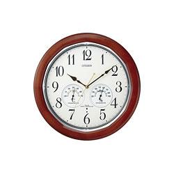 リズム時計工業【CITIZEN】ネムリーナインフォートW 電波掛け時計 8MY464-006★【湿温度計付】