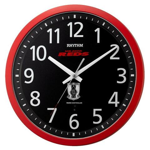 [RHYTHM]リズム時計 8MY523RD01 電波掛時計 浦和レッズ URAWA REDS 赤(黒)【快適家電デジタルライフ】