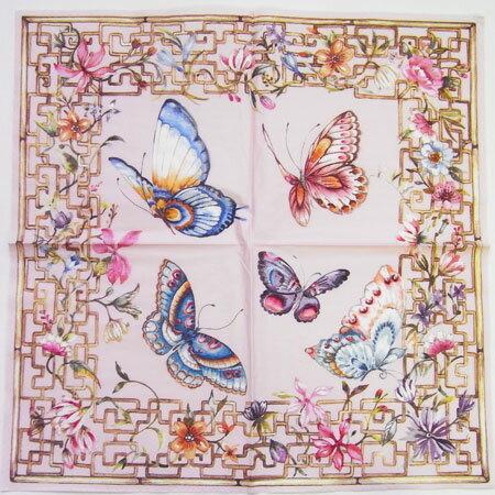 ペーパーナプキン[メール便OK] 木枠に蝶と花・桃 2枚入り[ZARA][ドイツ製]紙ナプキン・デコパージュ・ザラホーム