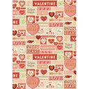 数量限定 輸入包装紙 バレンタイングリーティングラッピングペ...
