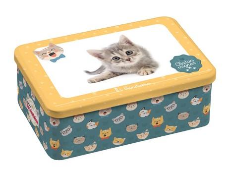 ラ・トリニテーヌキャッツ缶イエロー・ミニヨン(愛らしい猫(ガレット/パレット詰合せ)(薄焼きガレット