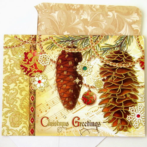 Pine Cone Christmas cards ★ rhinestone with ★ [Punch Studio] punch ...