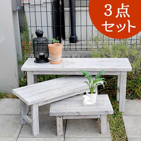 玄関花台木製花瓶置きホワイトスツール風花台3点セットロータイプYT-406080SSおしゃれサイドテ