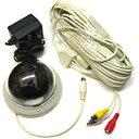 [防犯カメラ]買ってすぐに使えるお得なセットモデルカメラ本体・レンズ・ACアダプター・20m接続ケーブル・取付けスタンドの全てが付属![防犯カメラ]ドーム型CCD防犯カメラ【オールインワンカメラTD-2200CD】
