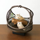 竹細工鳥かご ふくろう(感知センサー付き/結びかご)(約)幅14×奥行12.5×高さ15.5cm【受注生産の商品の為、只今製作に約2〜3週間お時間をいただいております。ご了承ください】