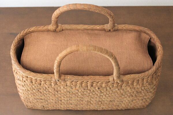 オプション柿渋染めの蓋・内布を取り付ける特大サイズのかご用【縫製納期 約1ヶ月】※縫製は、ご注文完了後のキャンセルが承れません。※かご代金は含まれておりません。