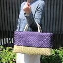 1点もの 巾着付き青竹市場かご(小サイズ/絞り・藍染古布使用)(約)幅37×マチ16×本体高さ23cm(約)670g