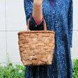 みだれ編みやまぶどう籠(太ひご/柿渋染内布・ポケット付き/小サイズ)(約)最大幅25×マチ10.5×高さ23cm(約)490g