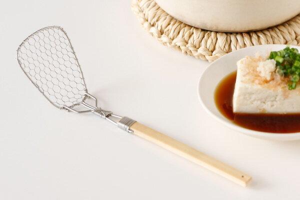 竹柄の湯豆腐スプーン(角/大/ステンレス製) (約)網部分6×5cm・柄の長さ15cm[テーブルコーディネート・和の器・お膳・旅館・土鍋]