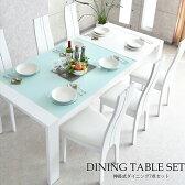 ダイニングテーブルセット ダイニングセット 伸長式 ダイニング 食卓テーブル セット【ホワイト】 幅150cm〜210cm ダイニング7点セット ダイニングチェア 食卓セット シンプル 6人掛け 6人用 テーブル いす イス 椅子 6脚 木製 無垢 強化ガラス 北欧