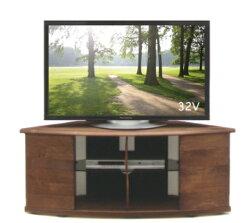 ナチュラル・ウォールナット色コーナーTVボード国産天然木アルダー無垢材オイル塗装仕上げ