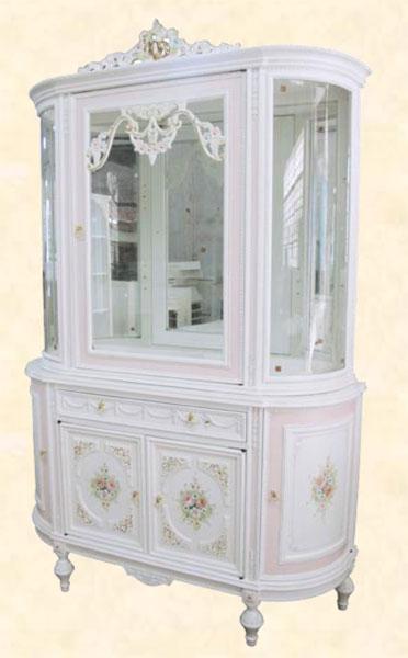 コレクションケース カップボード アンティーク 飾り棚 ホワイト MDF クラシック コレクションボード ディスプレイラック 送料無料