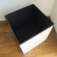 PUレザー使用のボックススツール(ホワイト)【あす楽対応】スツール収納ボックス白椅子オットマン腰掛け収納付折りたたみ収納スツール収納ボックス