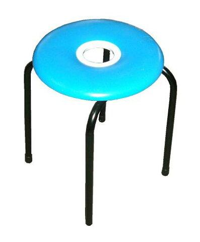 【送料無料】ドーナツ丸イス(青)10脚入り 日本製 スツール パイプイス ブルー ドーナツイス 丸椅子 組立不要 完成品