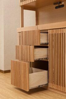 【送料無料/設置無料】日本製タモ無垢材を贅沢に使った格子扉の純和風レンジ台秘境幅120cmナチュラル色木製和室和家具天然木和風食器棚カップボードキッチン収納食器収納ダイニングボードキッチンボード茶だんす