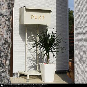 スタンド ハンマー ホワイト アンティーク ブラウン メールボックス