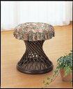 フレーム支柱多数で美しい流線的なデザイン カバー付スツール イス・チェア 座椅子 籐製