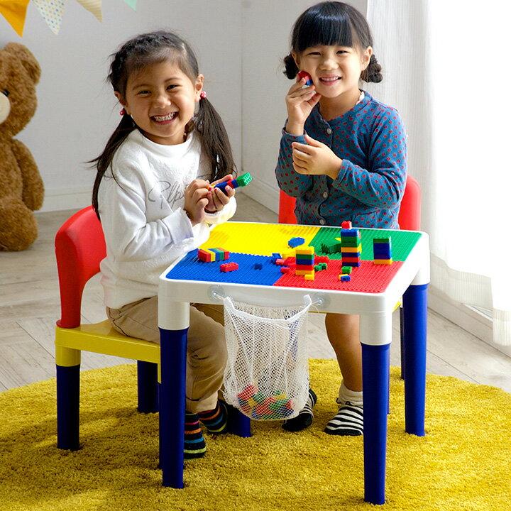 キッズテーブル&キッズチェアーセット(100ピースブロック付)誕生日プレゼントクリスマスプレゼント子